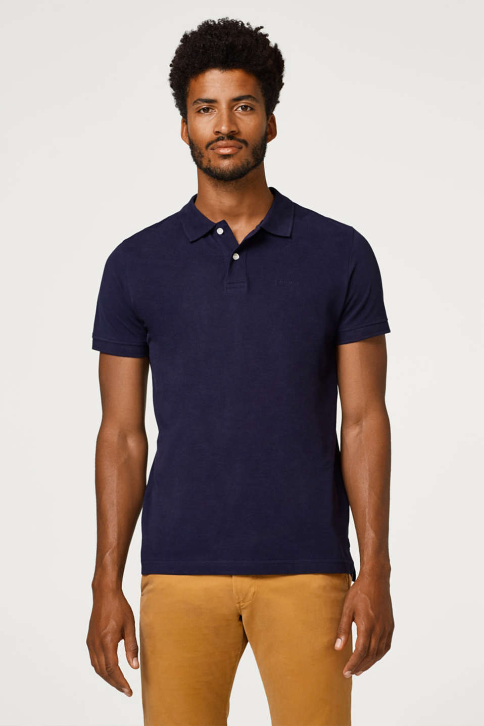 Esprit - Piqué polo shirt in organic cotton