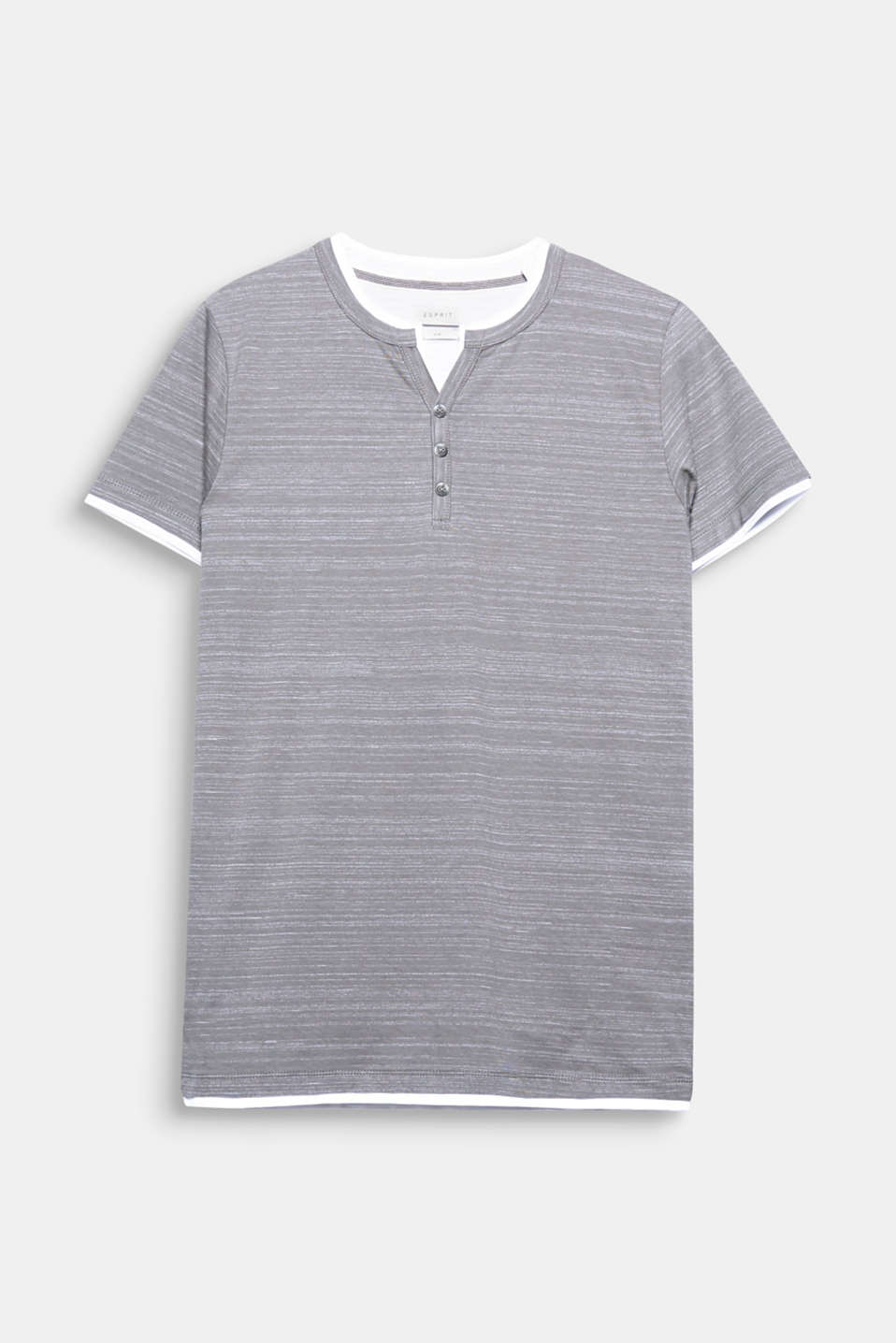 Your fashion basic: Henley T-shirt in a cool layered look in jersey with cotton.
