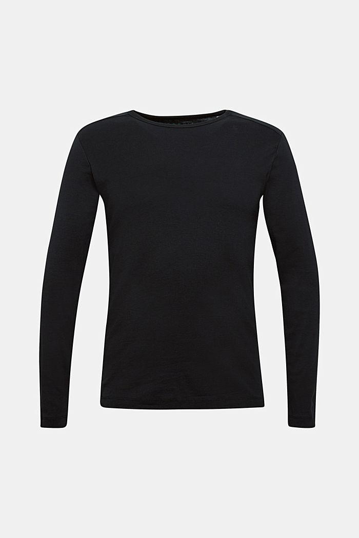 Jersey-Longsleeve aus 100% Baumwolle, BLACK, detail image number 0