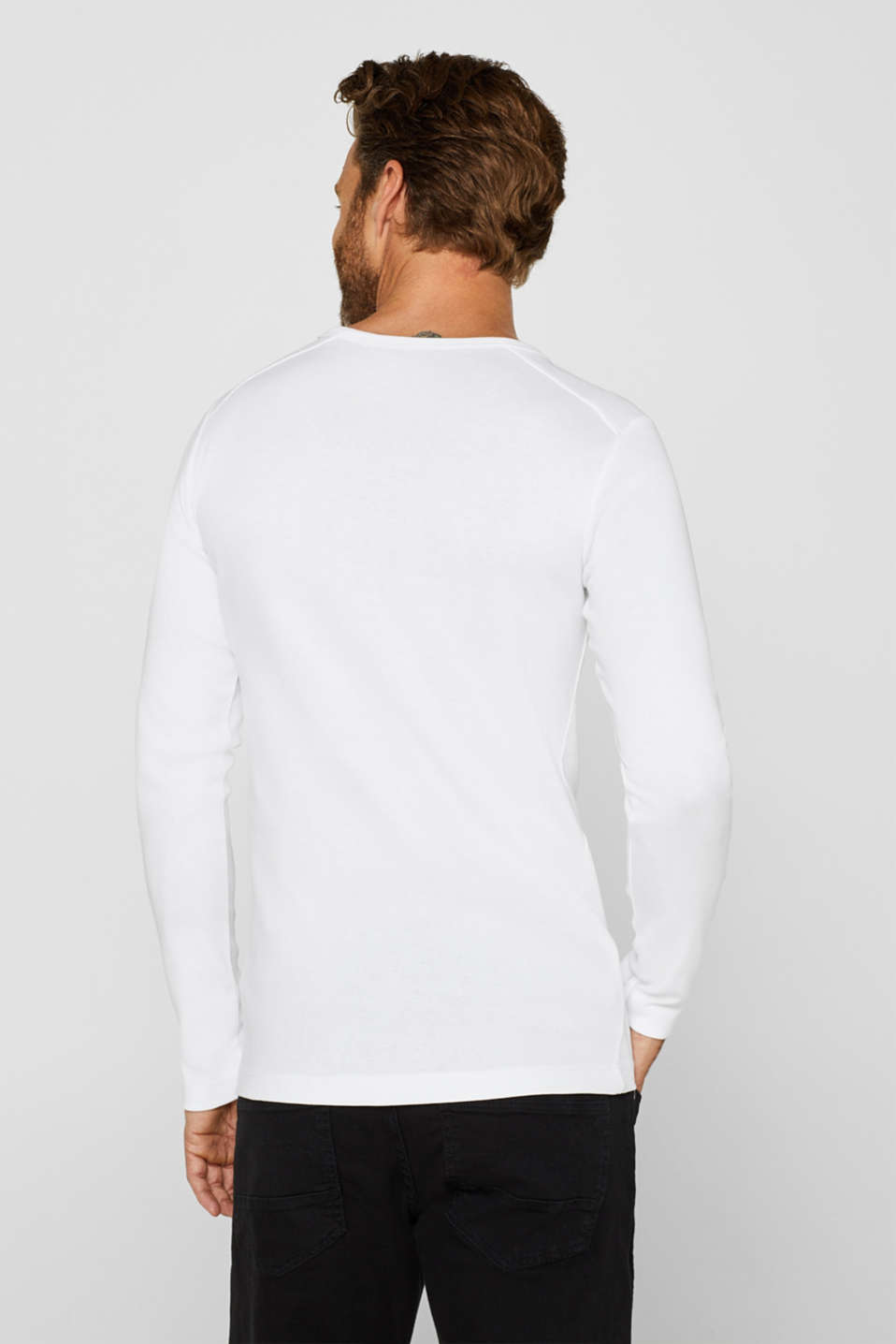 Long sleeve jersey top in 100% cotton, WHITE, detail image number 3