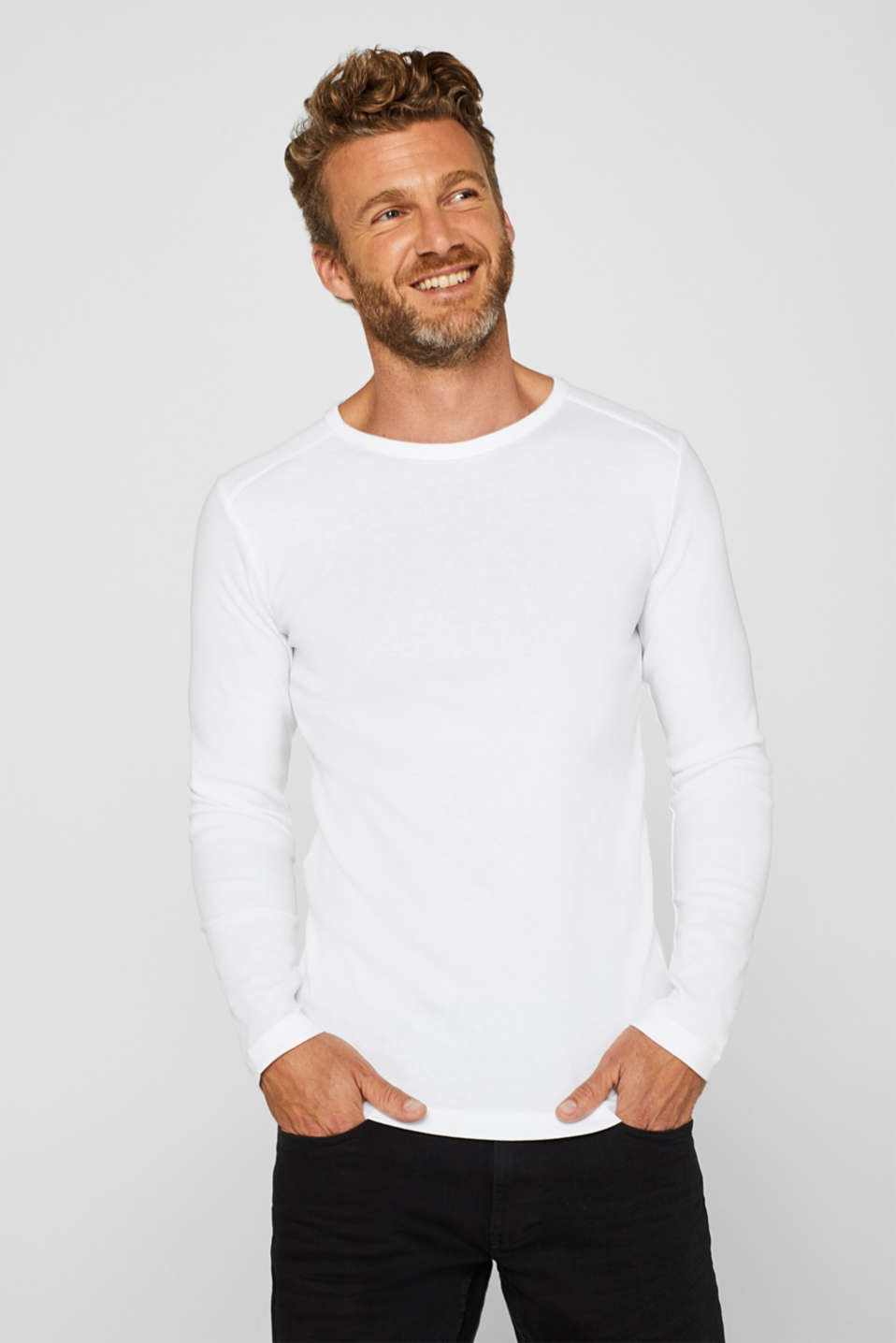 Long sleeve jersey top in 100% cotton, WHITE, detail image number 6