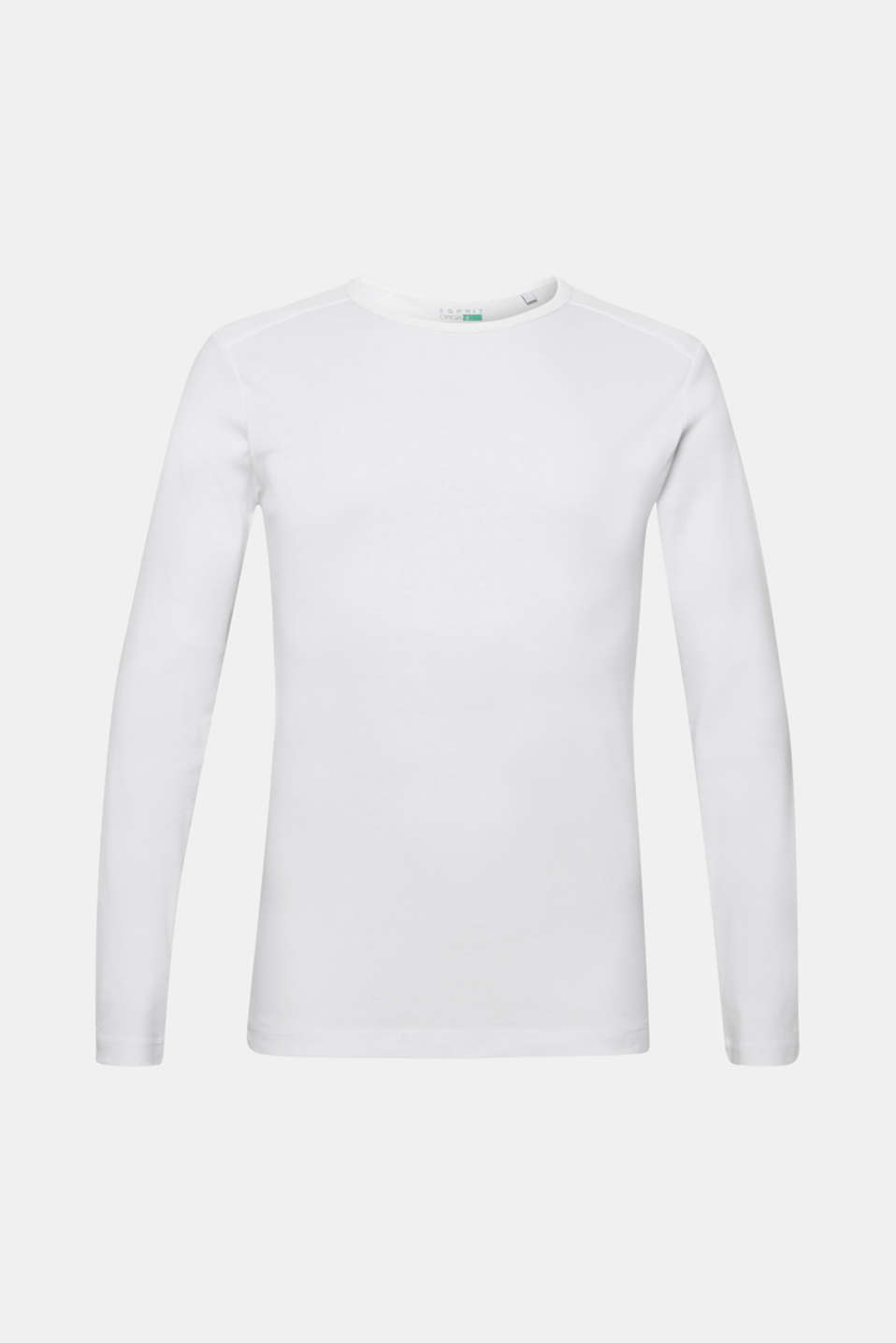 Long sleeve jersey top in 100% cotton, WHITE, detail image number 7