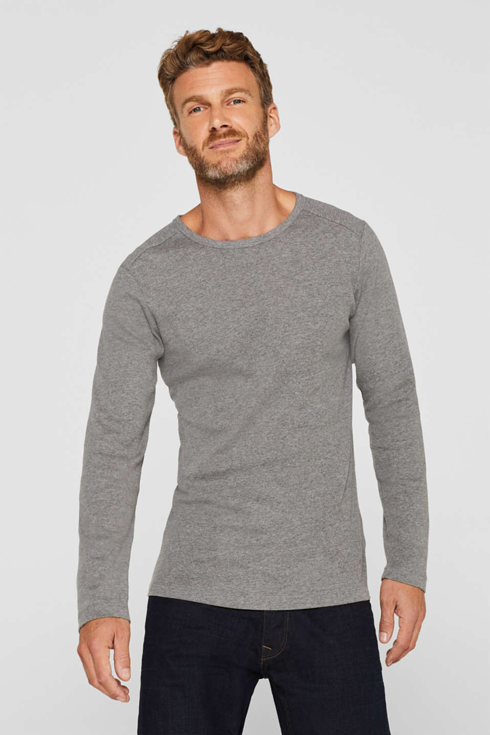 Melange long sleeve jersey top, MEDIUM GREY, detail image number 0