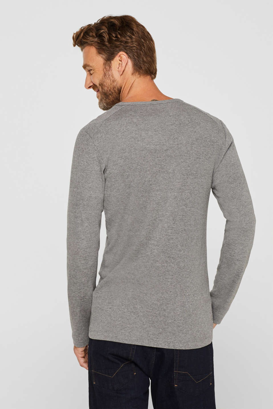 Melange long sleeve jersey top, MEDIUM GREY, detail image number 3