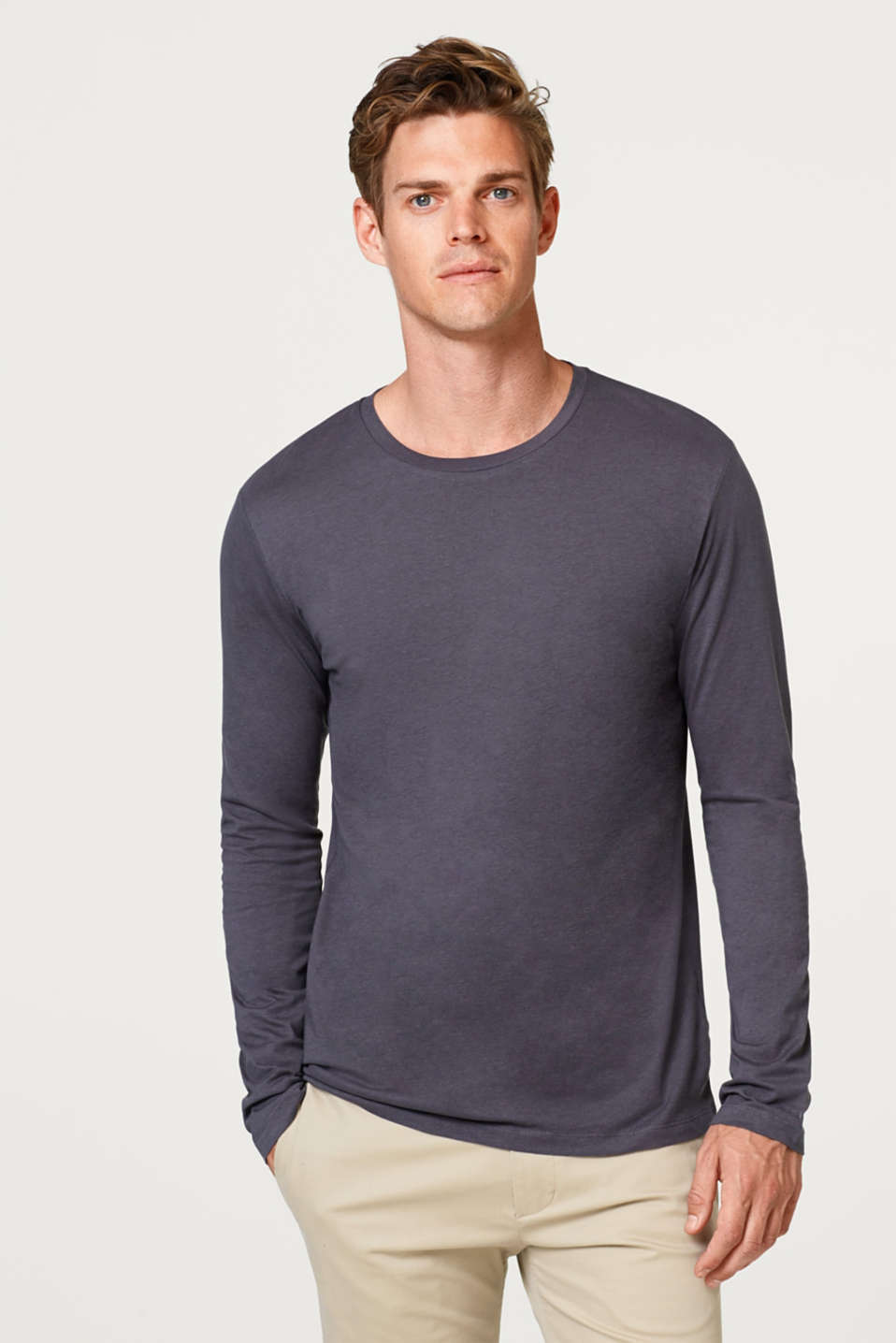 Esprit - Long sleeve jersey top in 100% cotton