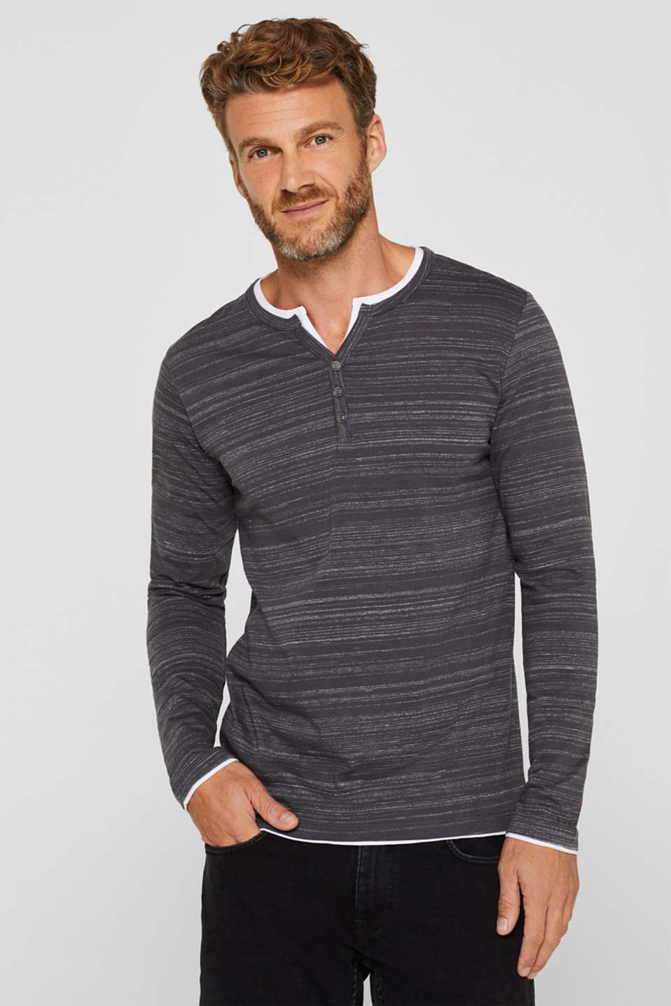 Esprit - Henley-Shirt im Layer-Look, aus Jersey