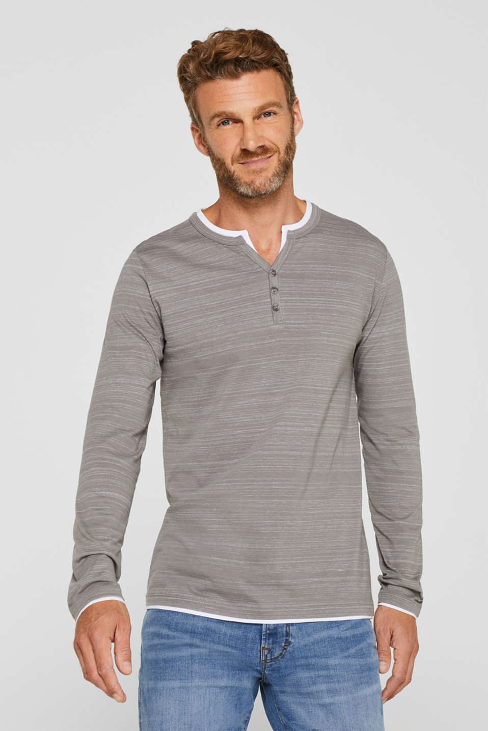 Esprit - Henley top in a layered look made of jersey