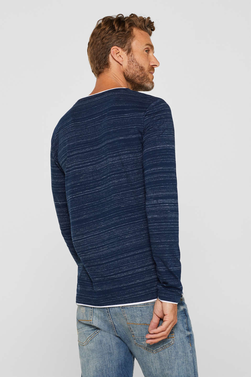Henley top in a layered look made of jersey, NAVY, detail image number 3