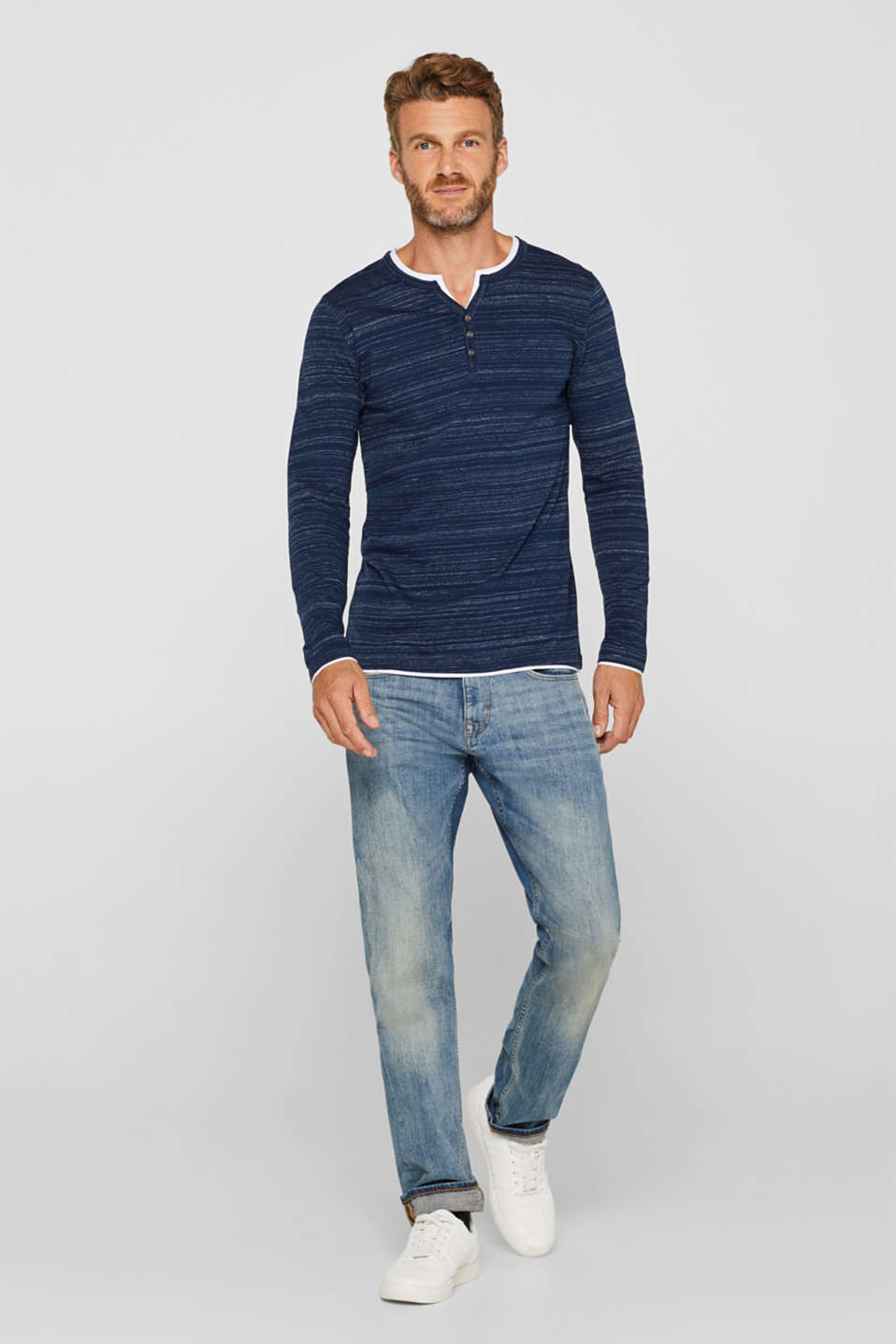Henley top in a layered look made of jersey, NAVY, detail image number 4