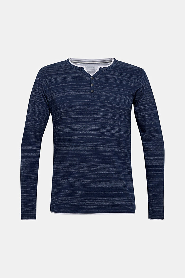 Henley top in a layered look made of jersey, NAVY, detail image number 0