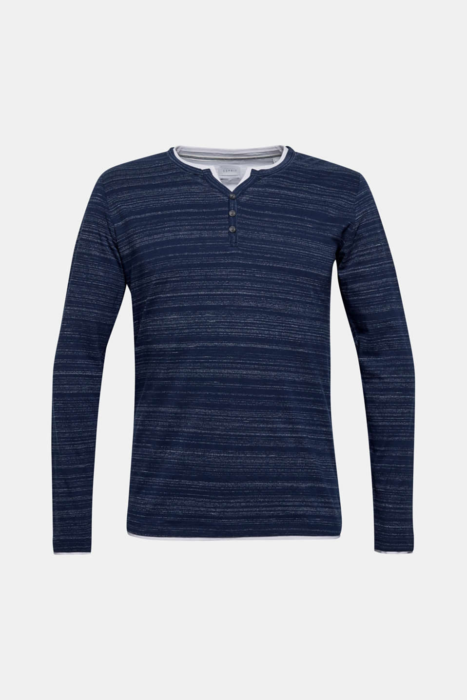 Henley top in a layered look made of jersey, NAVY, detail image number 6