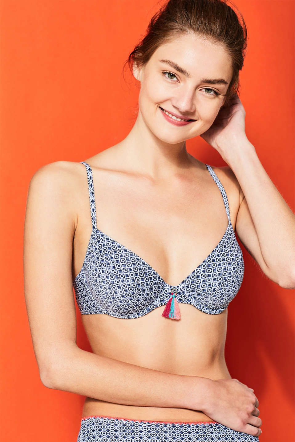 Unpadded, underwire top with mini print, NAVY, detail image number 0