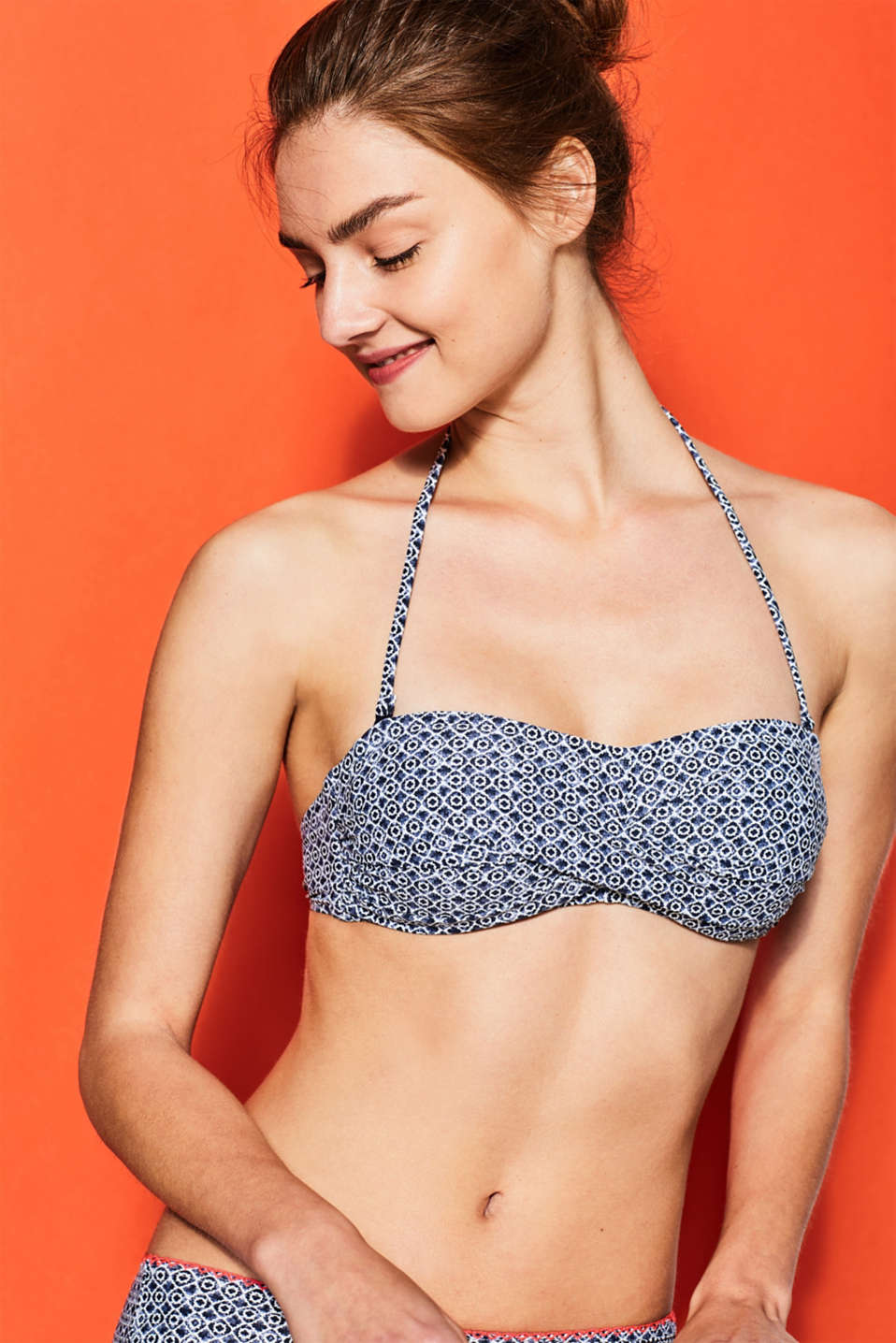 Esprit - Padded bandeau top with minimalist print