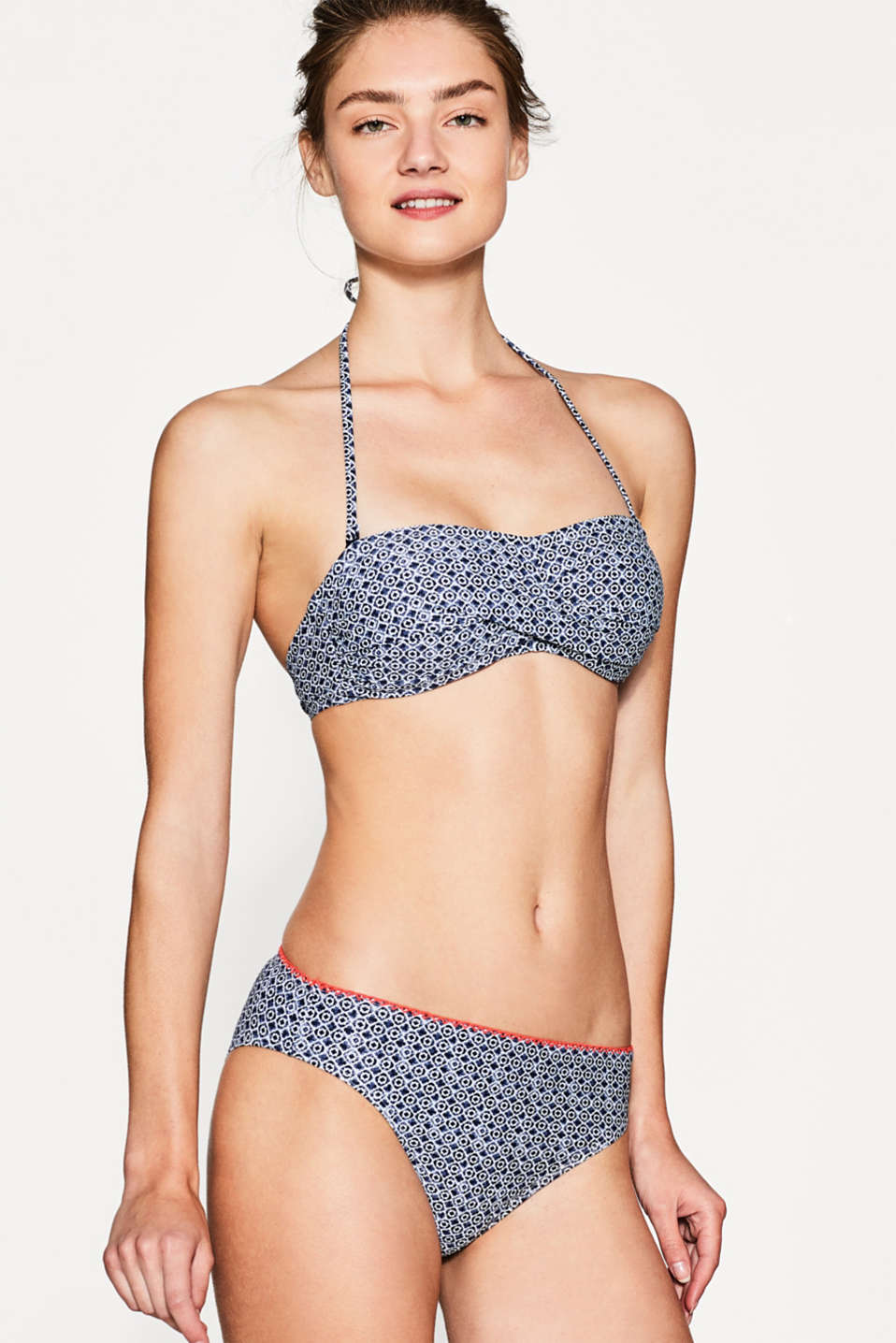 Esprit - Briefs with mini print and scalloped edges