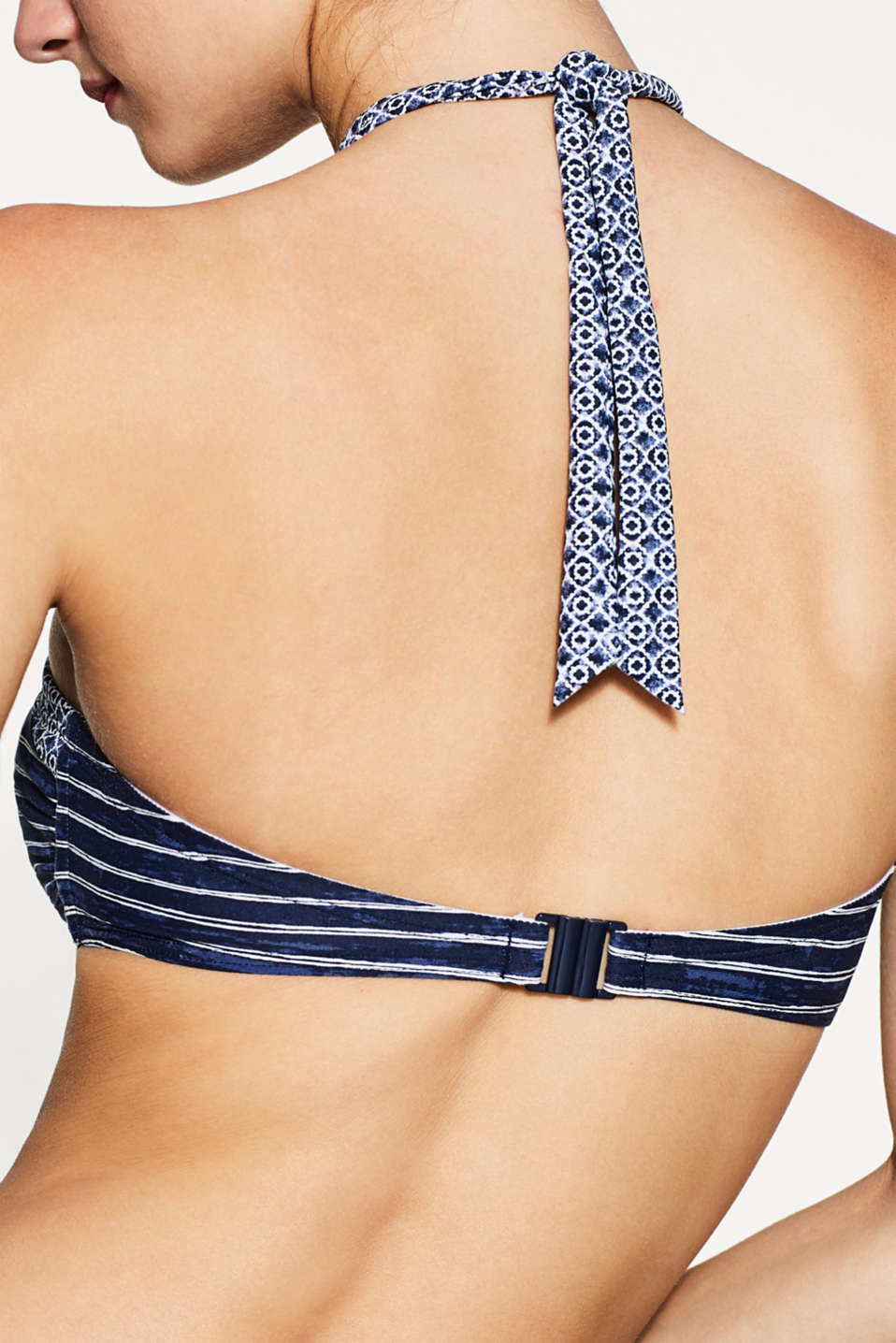 Mixed pattern padded bandeau top, NAVY, detail image number 1