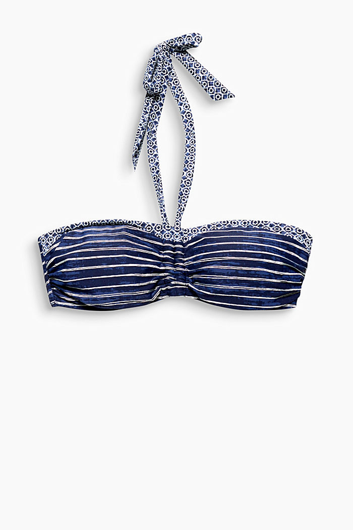 Mixed pattern padded bandeau top, NAVY, detail image number 0