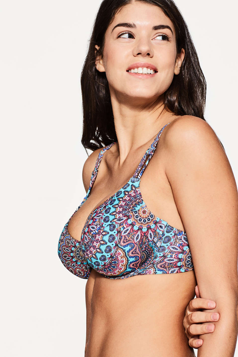 Non-padded Underwire Bikini Print Top At Our