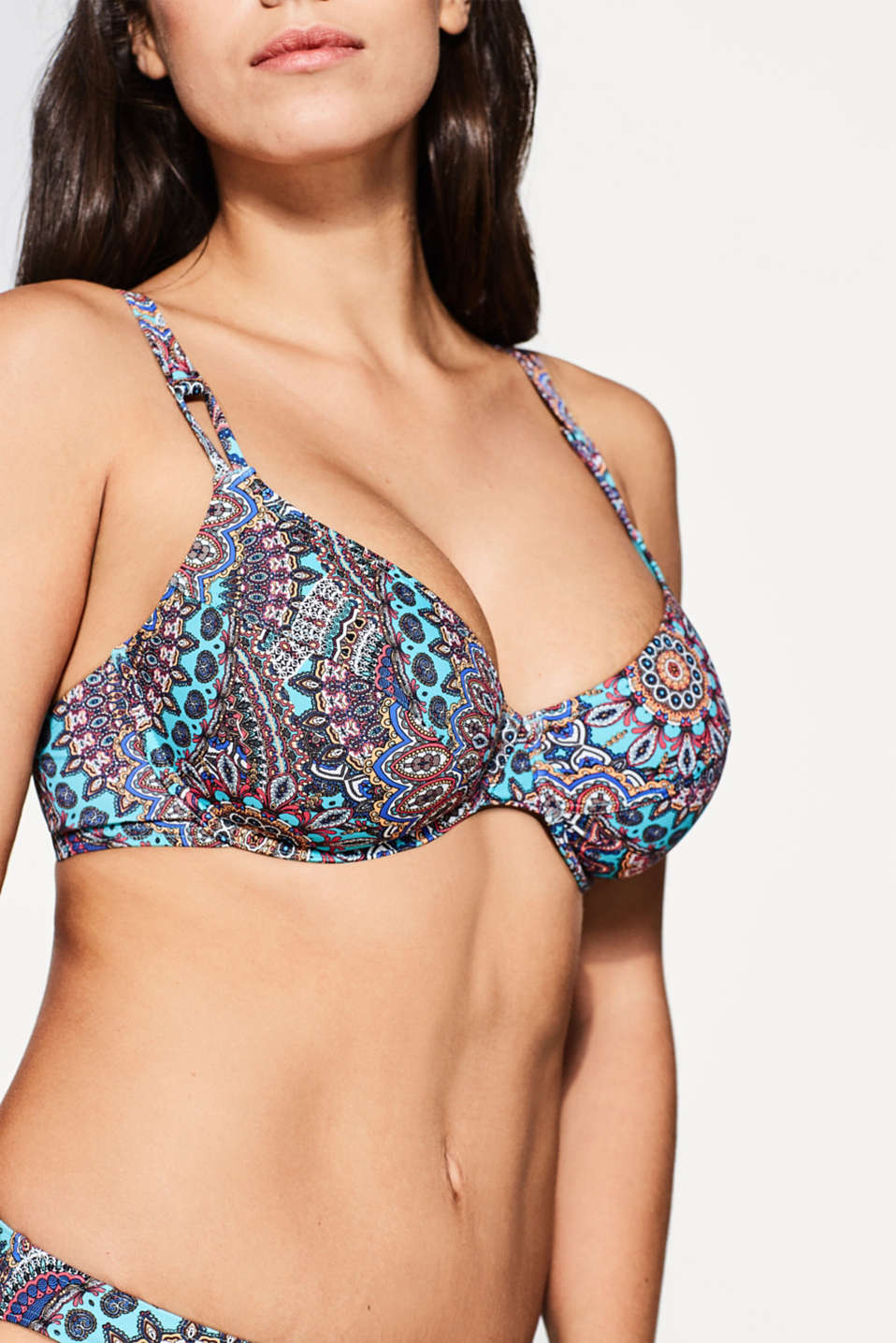 Non-padded underwire bikini print top, DARK PINK, detail image number 2