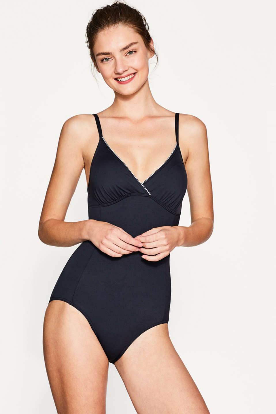 Esprit - Padded swimsuit with piping