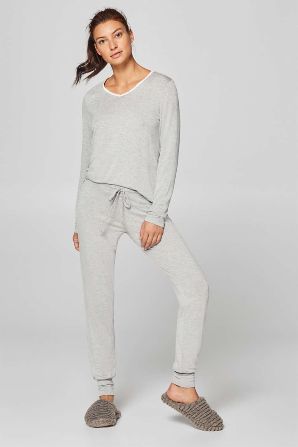 Esprit - Pyjama bottoms made of melange stretch jersey