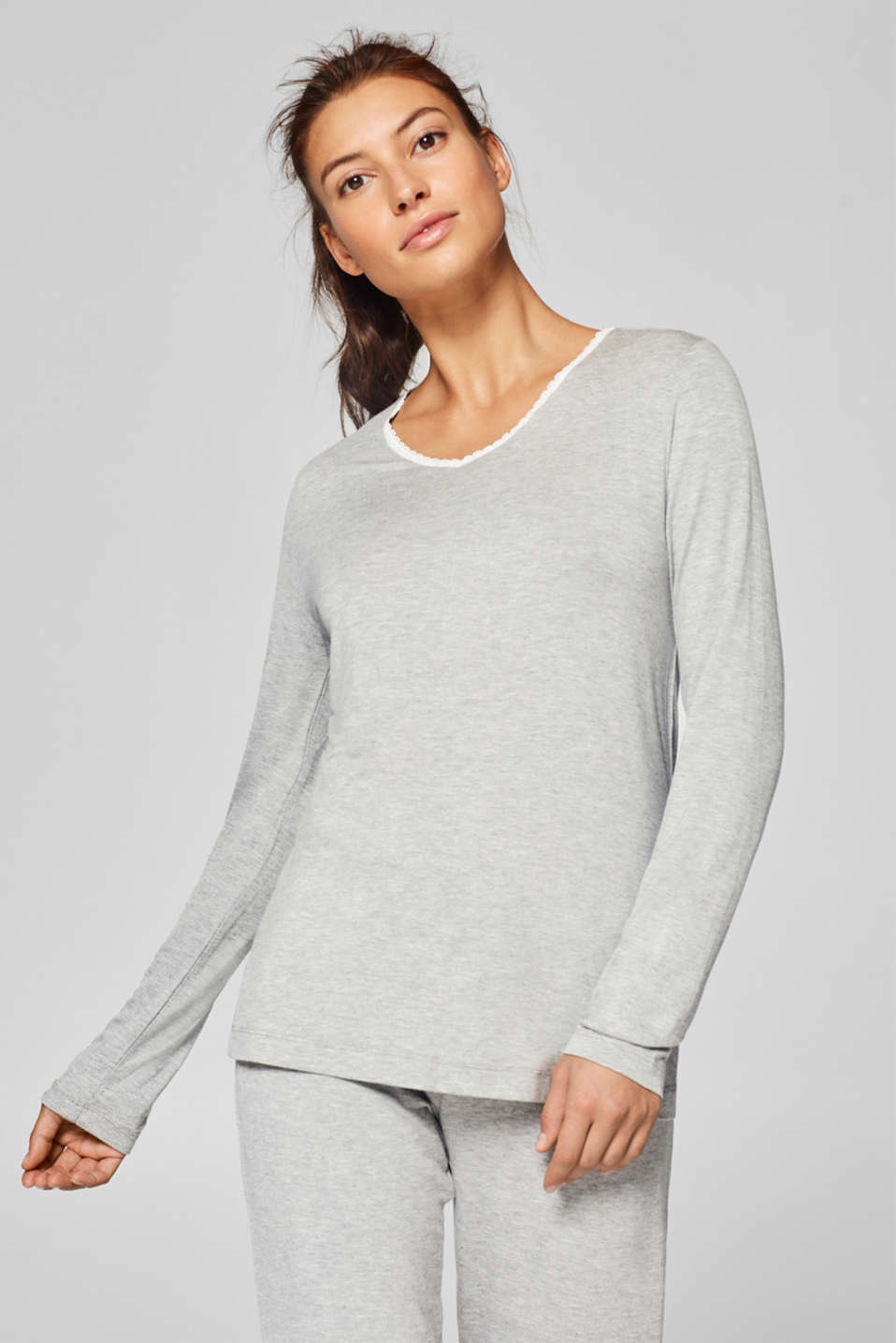 Esprit - Stretch long sleeve top trimmed with lace