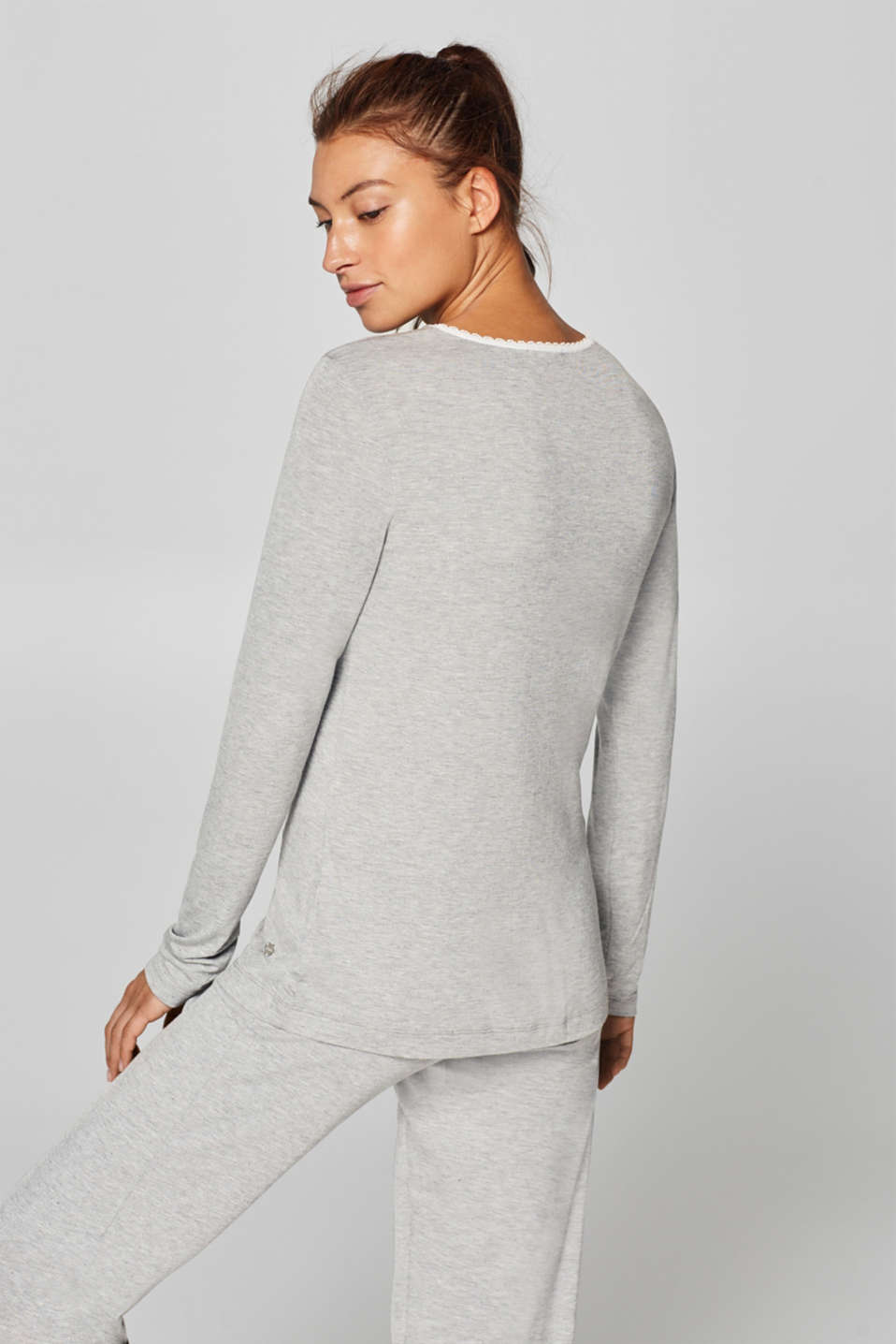 Stretch long sleeve top trimmed with lace, MEDIUM GREY, detail image number 1