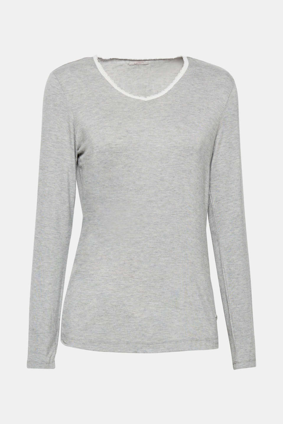 Stretch long sleeve top trimmed with lace, MEDIUM GREY, detail image number 5