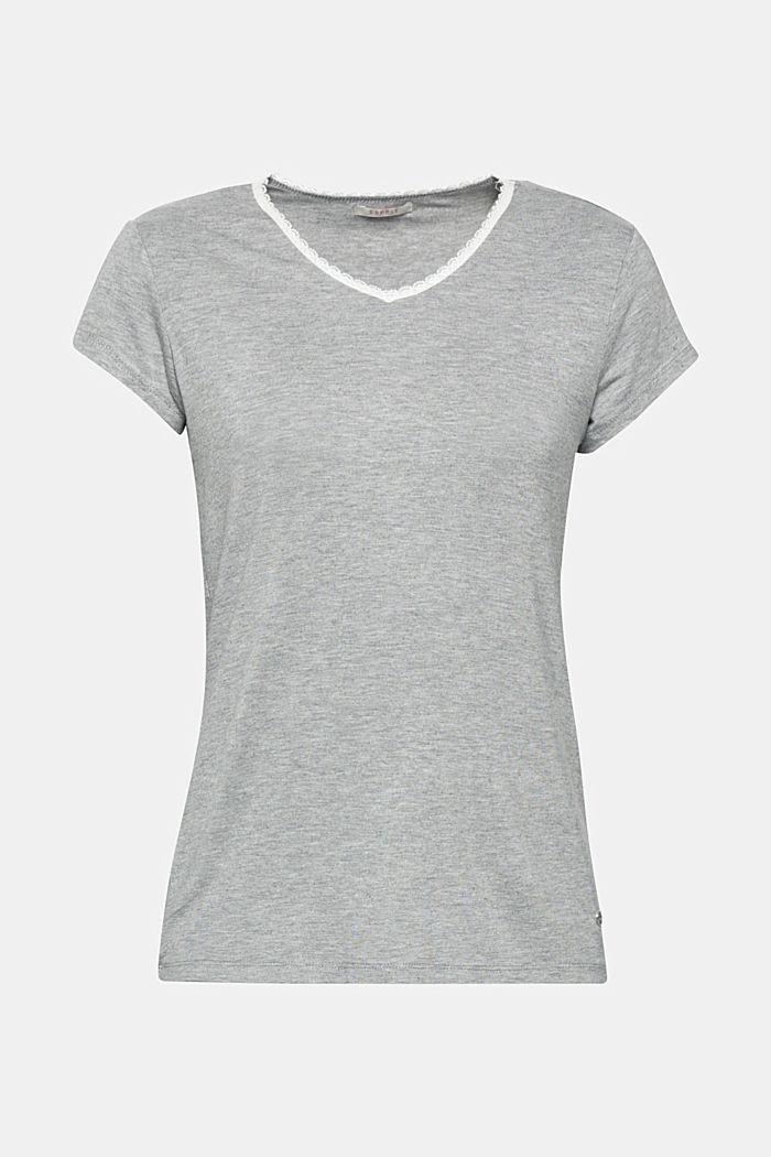 Elastisch shirt met kant aan de hals, MEDIUM GREY, detail image number 0