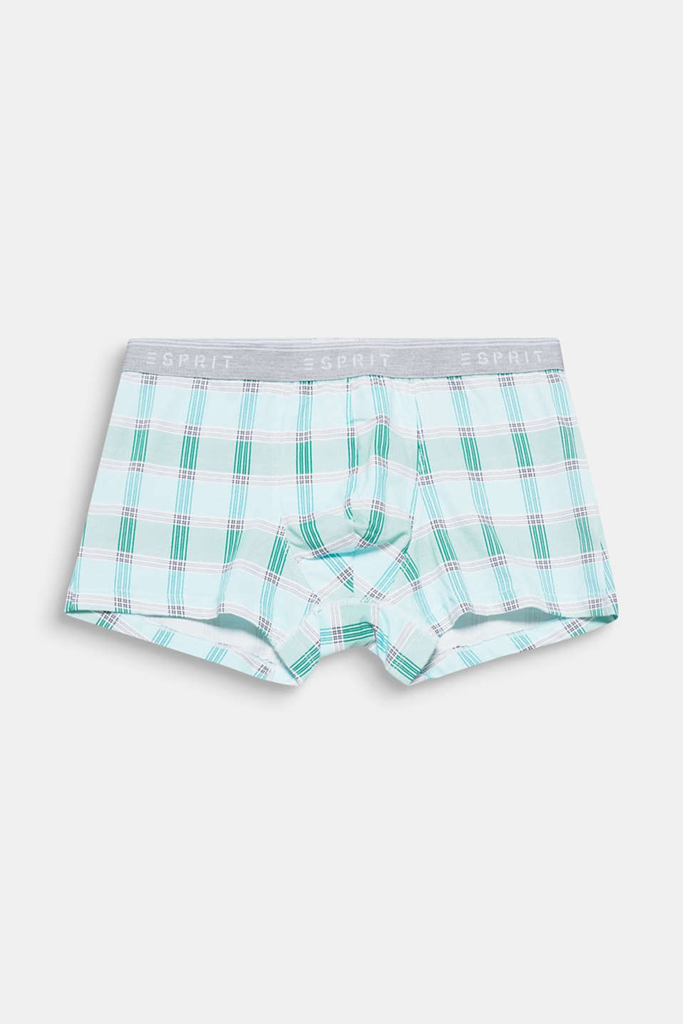 Large checks in delicate colours give these hipster shorts in comfortable blended cotton their new look!