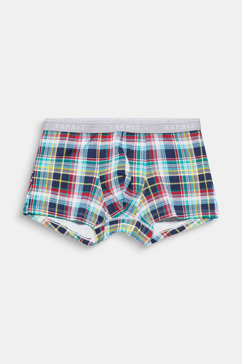 Multi-coloured checks give these jersey hipster shorts with an attached logo waistband their trendy look!