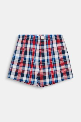 Checked boxer shorts, 100% cotton, RED, detail