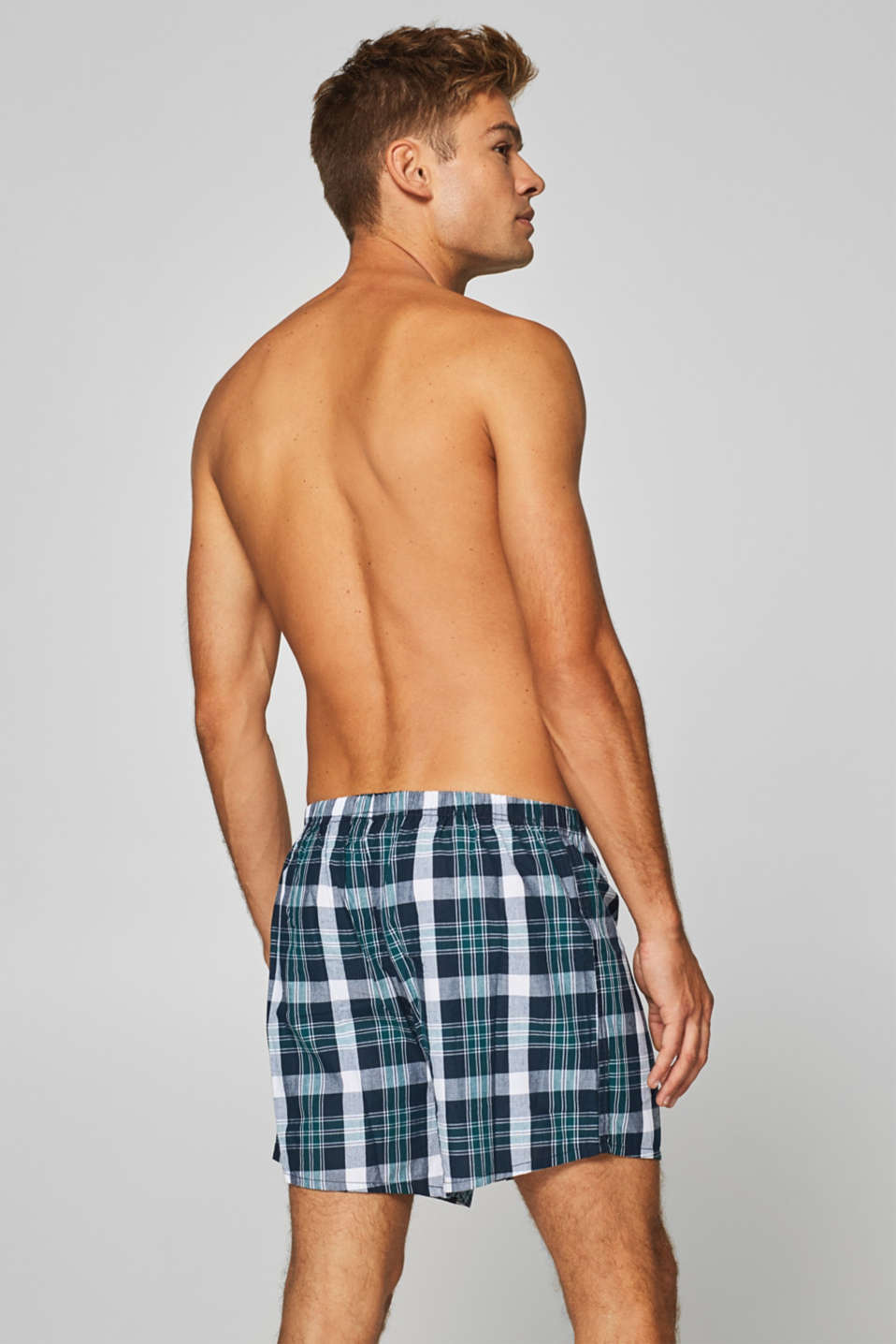 Checked boxer shorts, 100% cotton, DARK TEAL GREEN, detail image number 1