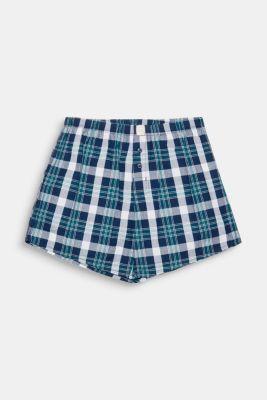 Checked boxer shorts, 100% cotton, DARK TEAL GREEN, detail
