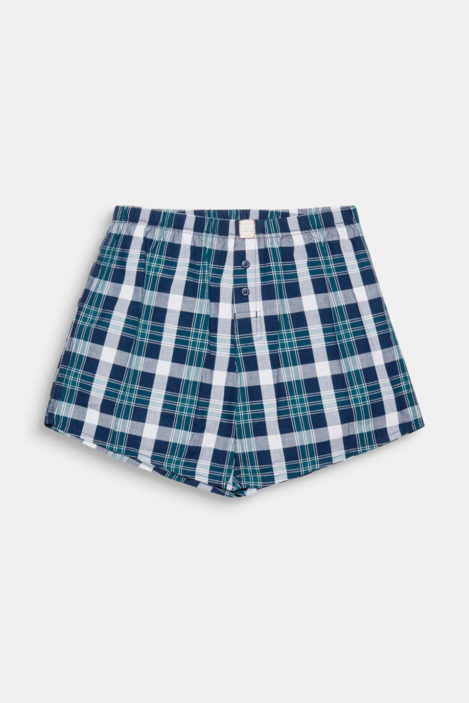 Checked boxer shorts, 100% cotton, DARK TEAL GREEN, detail image number 3