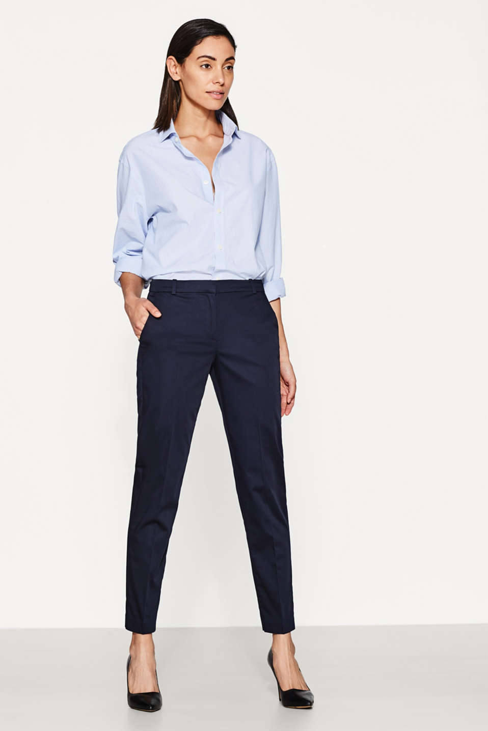 SOFT SATIN Mix + match trousers, NAVY, detail image number 5