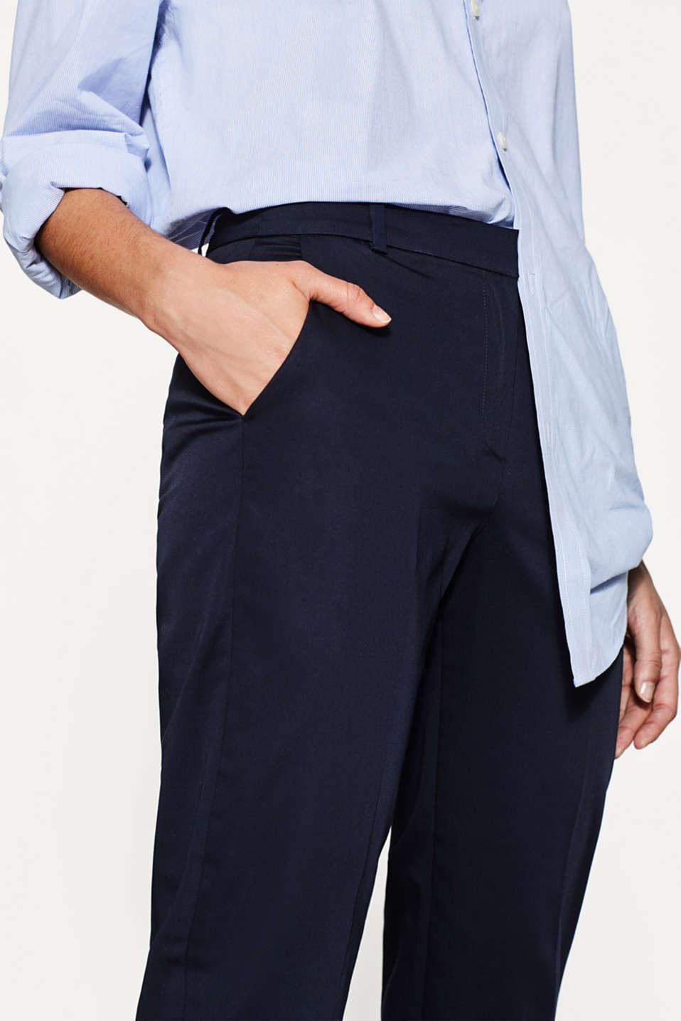 SOFT SATIN Mix + match trousers, NAVY, detail image number 2