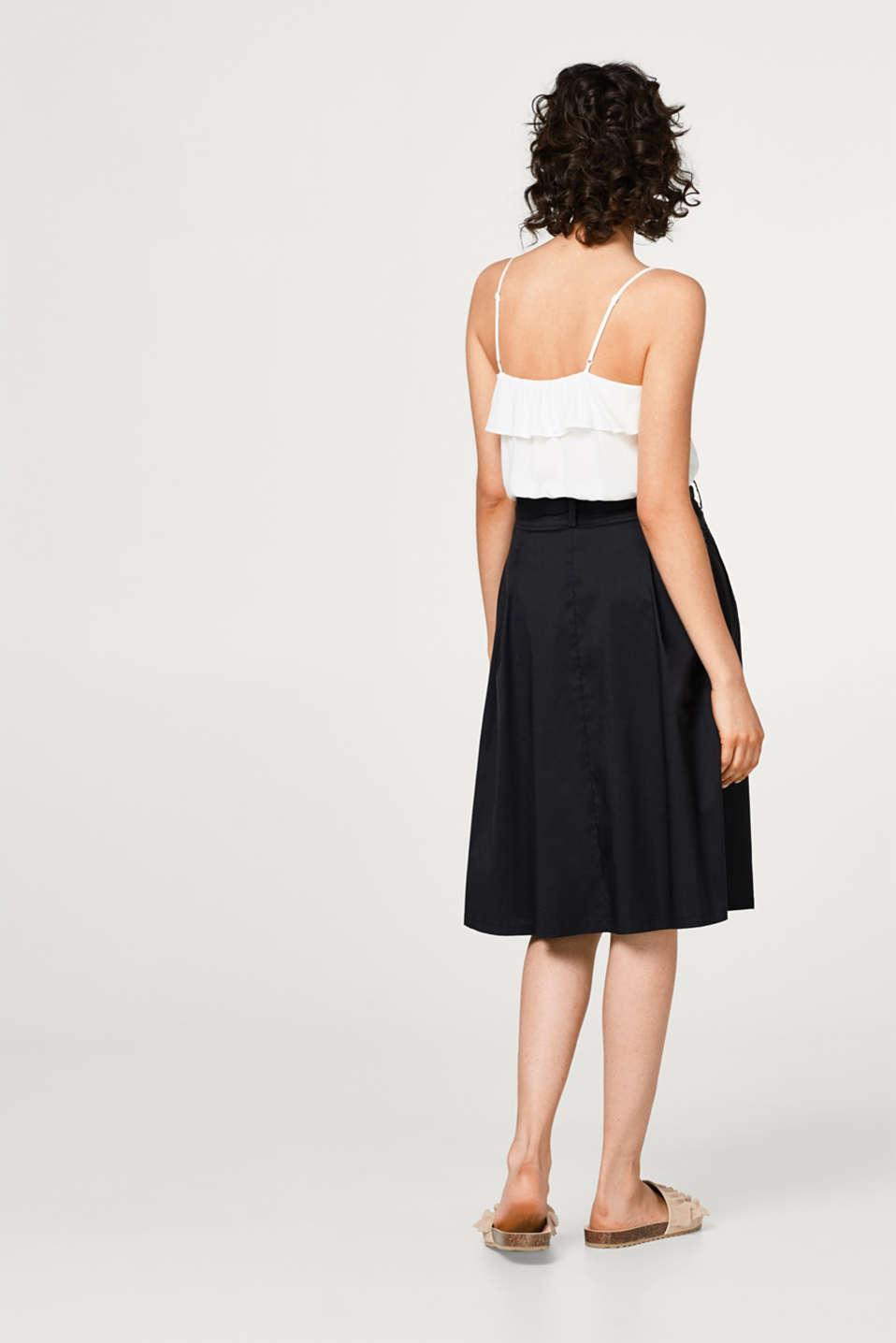 A-line chintz skirt + bow-fastening belt, BLACK, detail image number 3