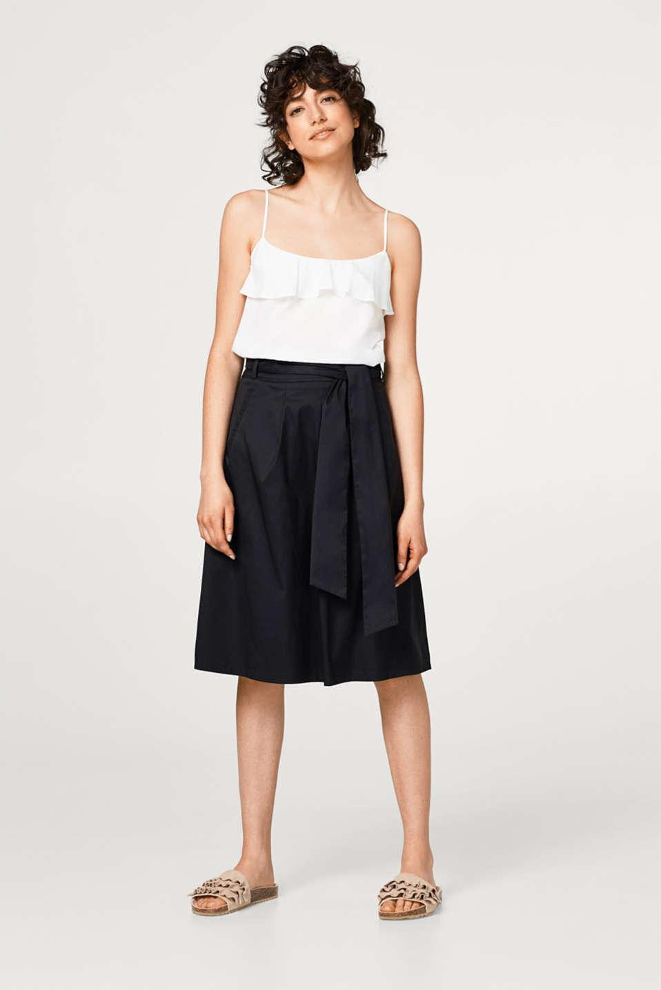 A-line chintz skirt + bow-fastening belt, BLACK, detail image number 1