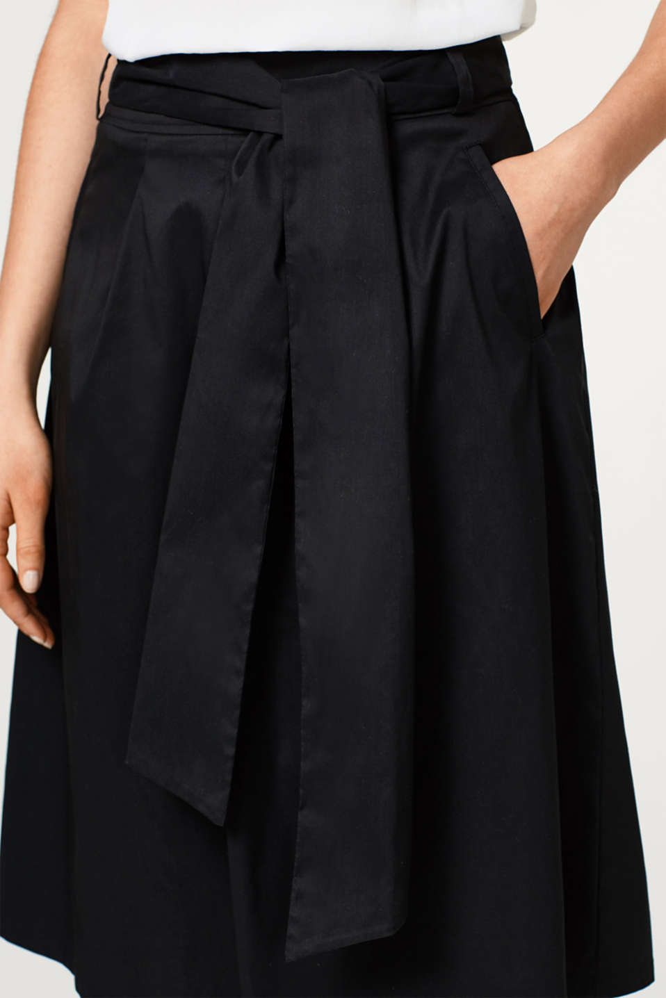 A-line chintz skirt + bow-fastening belt, BLACK, detail image number 2