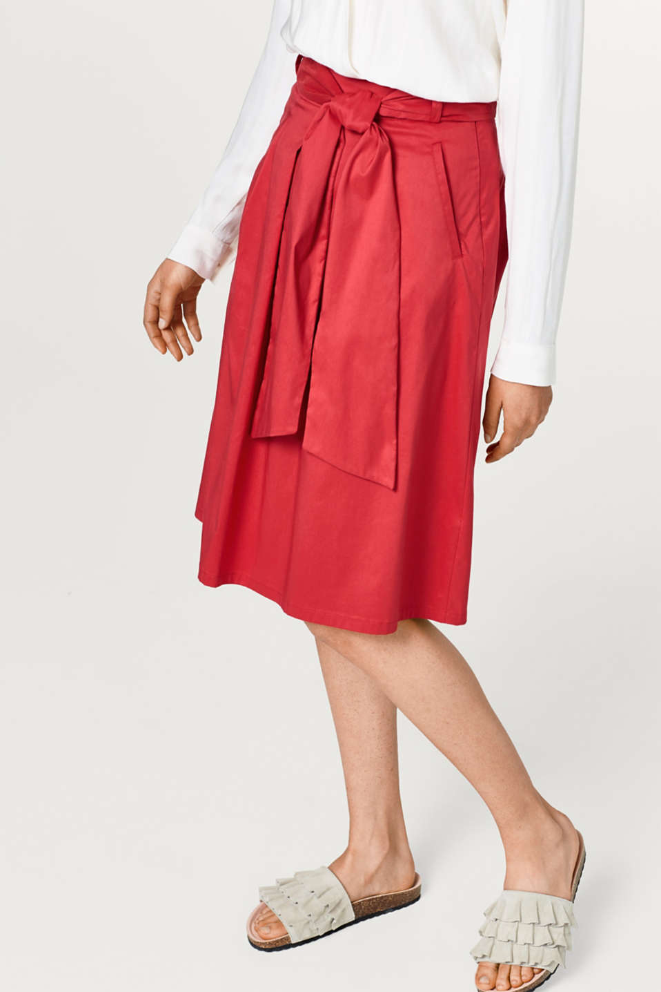 Esprit - A-line chintz skirt + bow-fastening belt