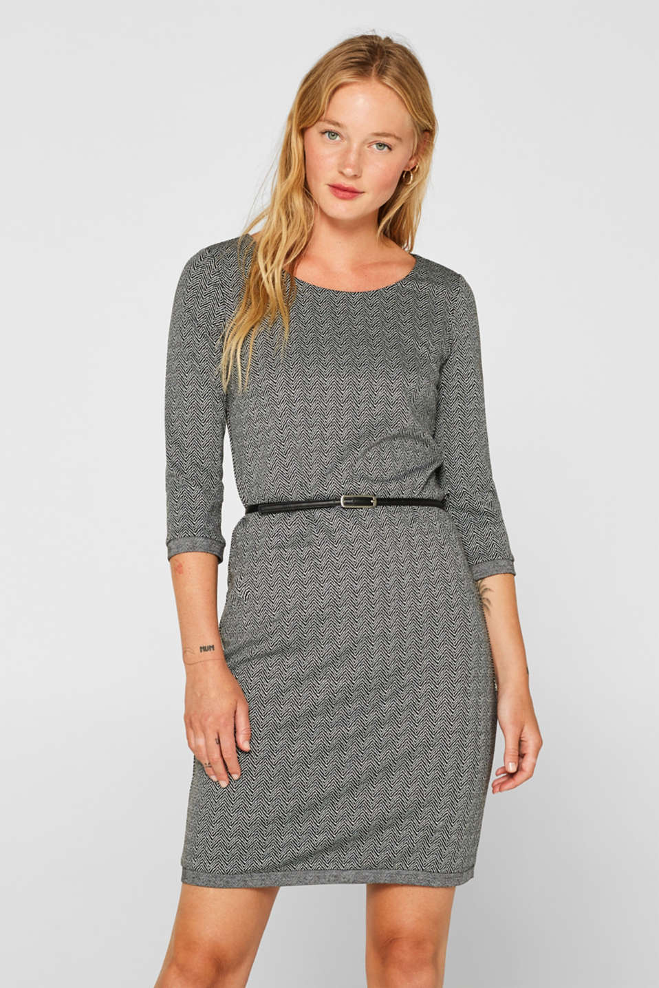 Esprit - Stretch jersey shift dress with a belt