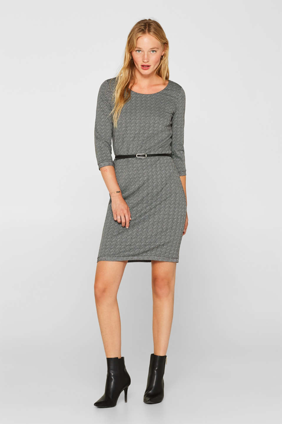 Stretch jersey sheath dress with belt, ANTHRACITE, detail image number 0