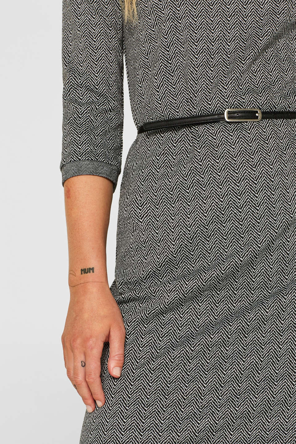 Stretch jersey sheath dress with belt, ANTHRACITE, detail image number 2