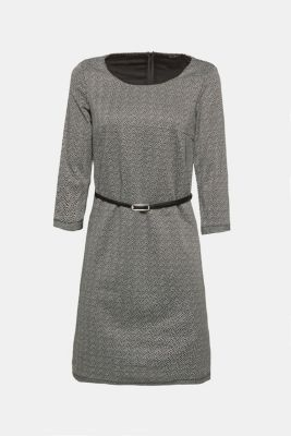 Stretch jersey sheath dress with belt, ANTHRACITE, detail