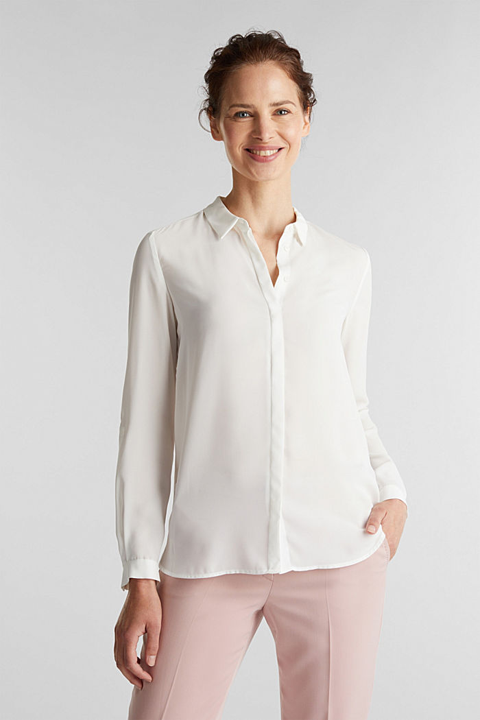 Shirt blouse made of fine crêpe, OFF WHITE, overview