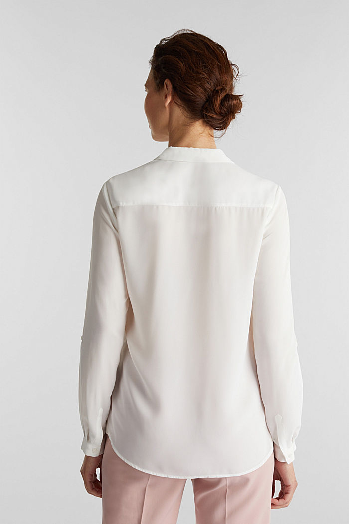 Shirt blouse made of fine crêpe, OFF WHITE, detail image number 3
