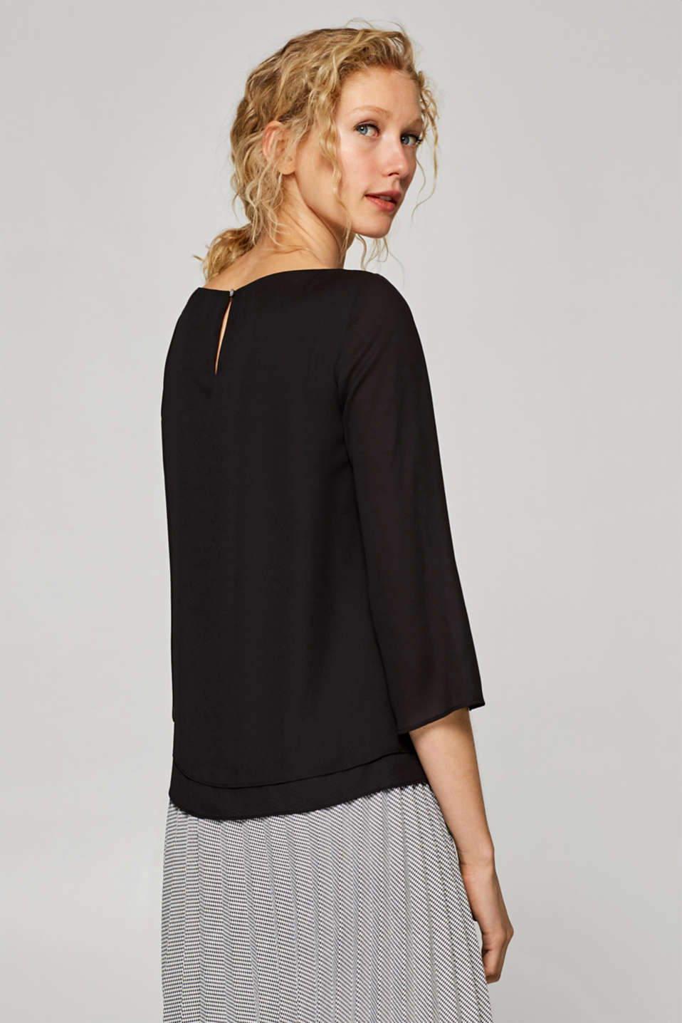 Flowing crêpe blouse with a layered effect, BLACK, detail image number 3