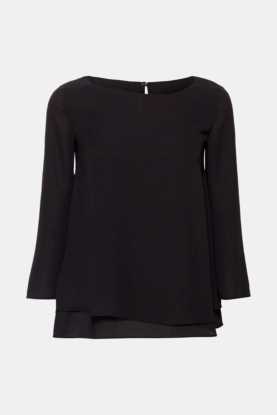 Flowing crêpe blouse with a layered effect, BLACK, detail image number 7