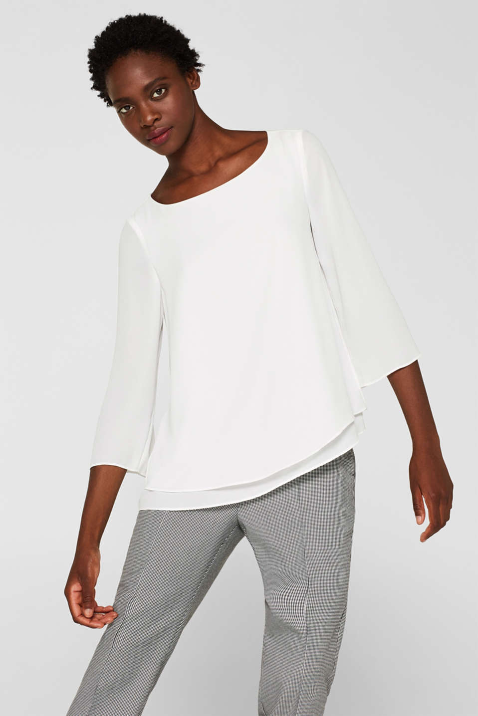 Esprit - Flowing crêpe blouse with a layered effect