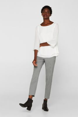 Crêpe blouse with a layered effect, OFF WHITE, detail